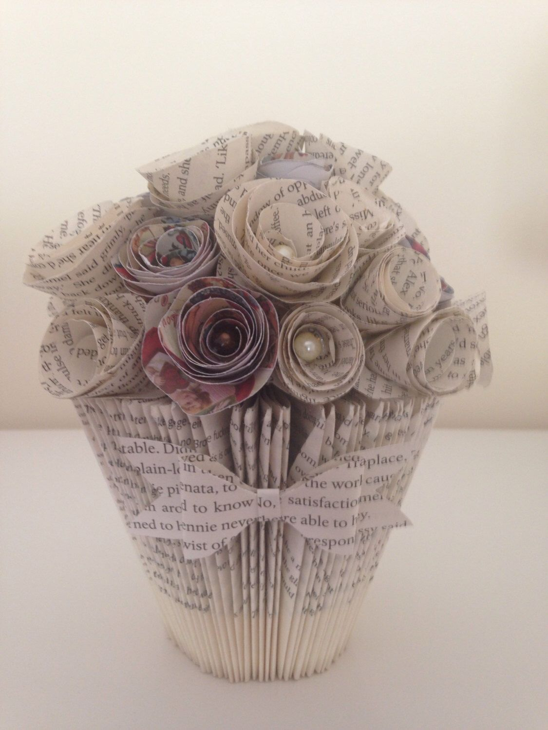 Handmade Folded Book Art Bucket Vase And Selection Of Paper Flowers