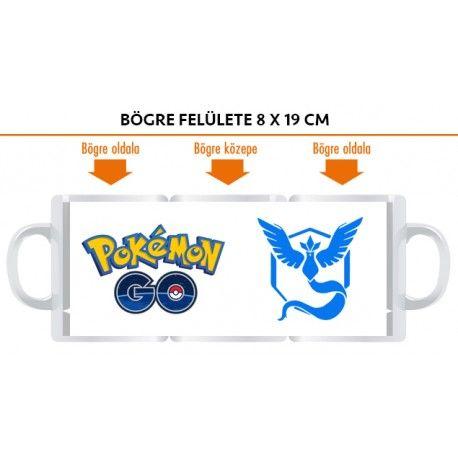 Ajándék Pokemon Go bögre Mystic csapat logójával, vagy más felirattal