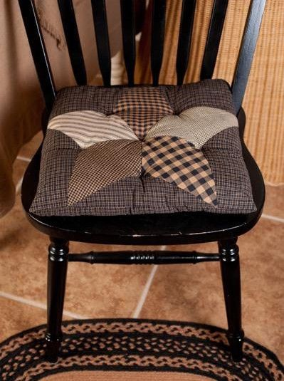 Nice New Country Primitive Black Tan FARMHOUSE STAR Quilted Chair Pad Seat  Cushion