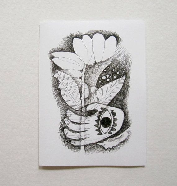 flower in hand - 5x7 greeting card / by nourart on Etsy