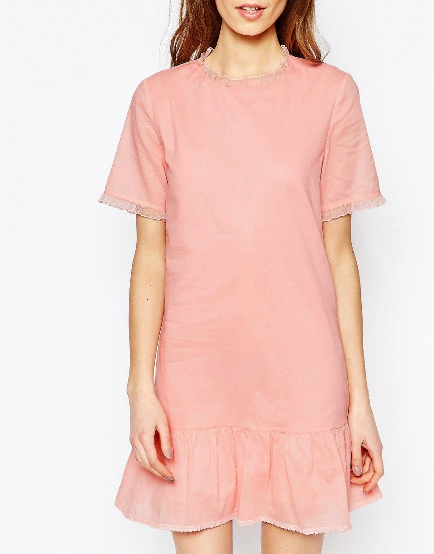 Image 3 of Vanessa Bruno Athe Cotton Voile Drop Waist Dress in Pink ...
