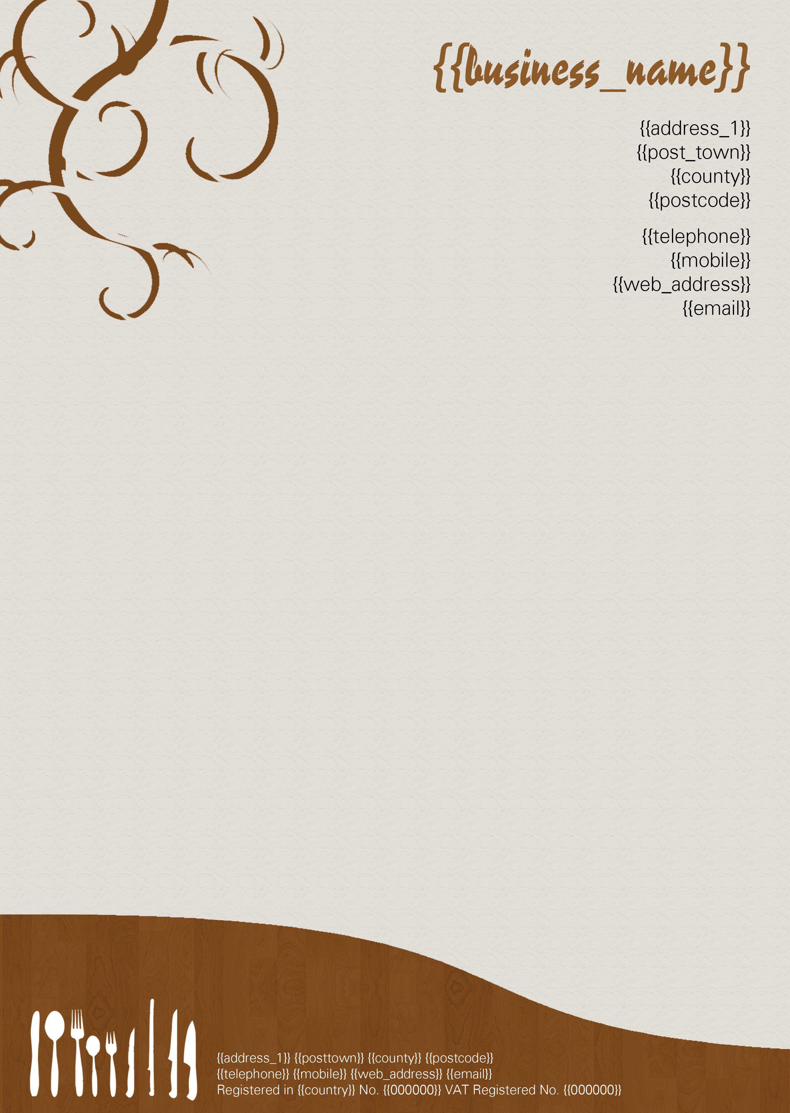 Restaurant Letterhead Letterhead Sample Letterhead