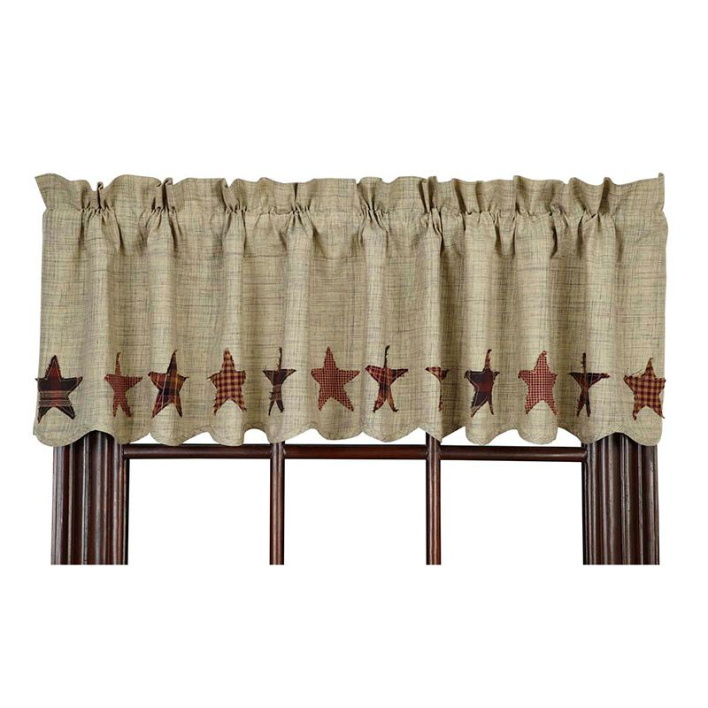 New Country Americana Patchwork Flag Pinwheel Ticking Curtain Window Valance Country Curtains Window Valance Primitive Curtains