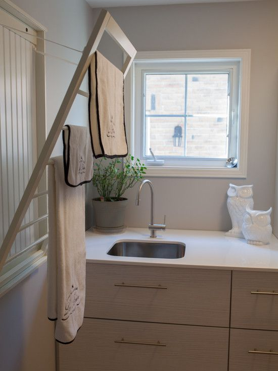 Furniture transitional laundry room fold out pull down - Hanging rack for laundry room ...