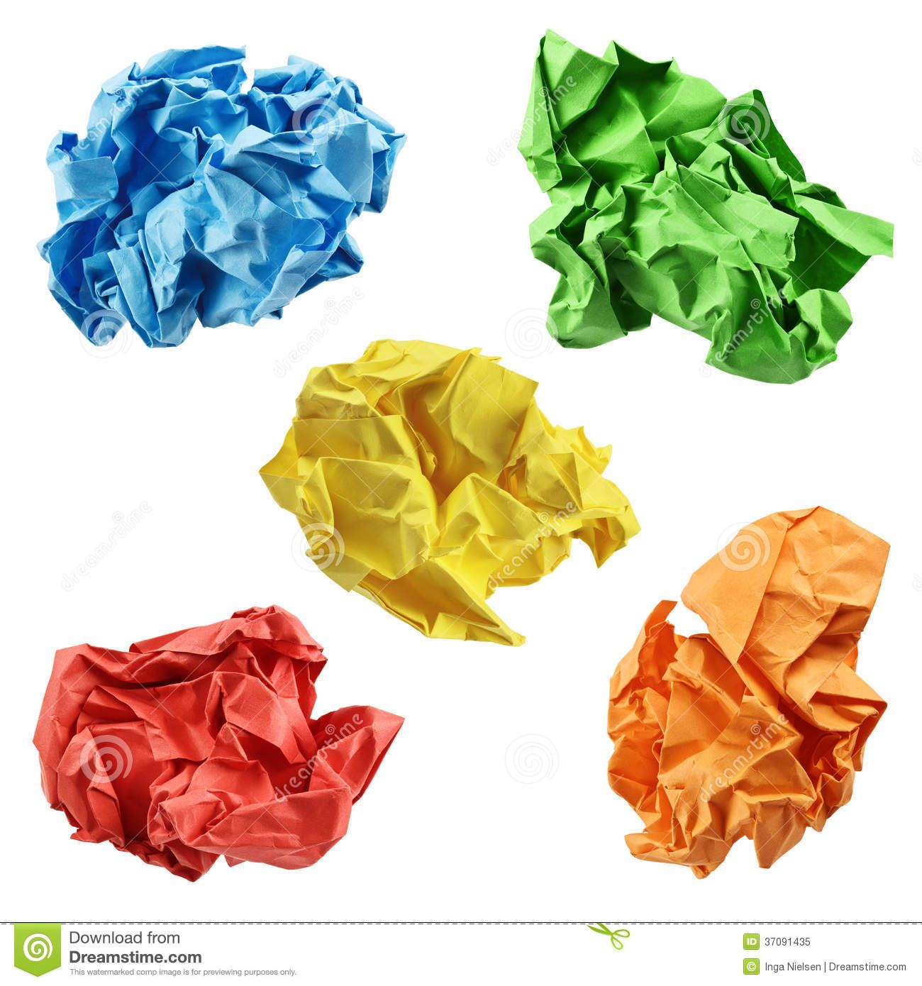 cartoon yellow ball of paper | colorful crumpled paper balls in blue