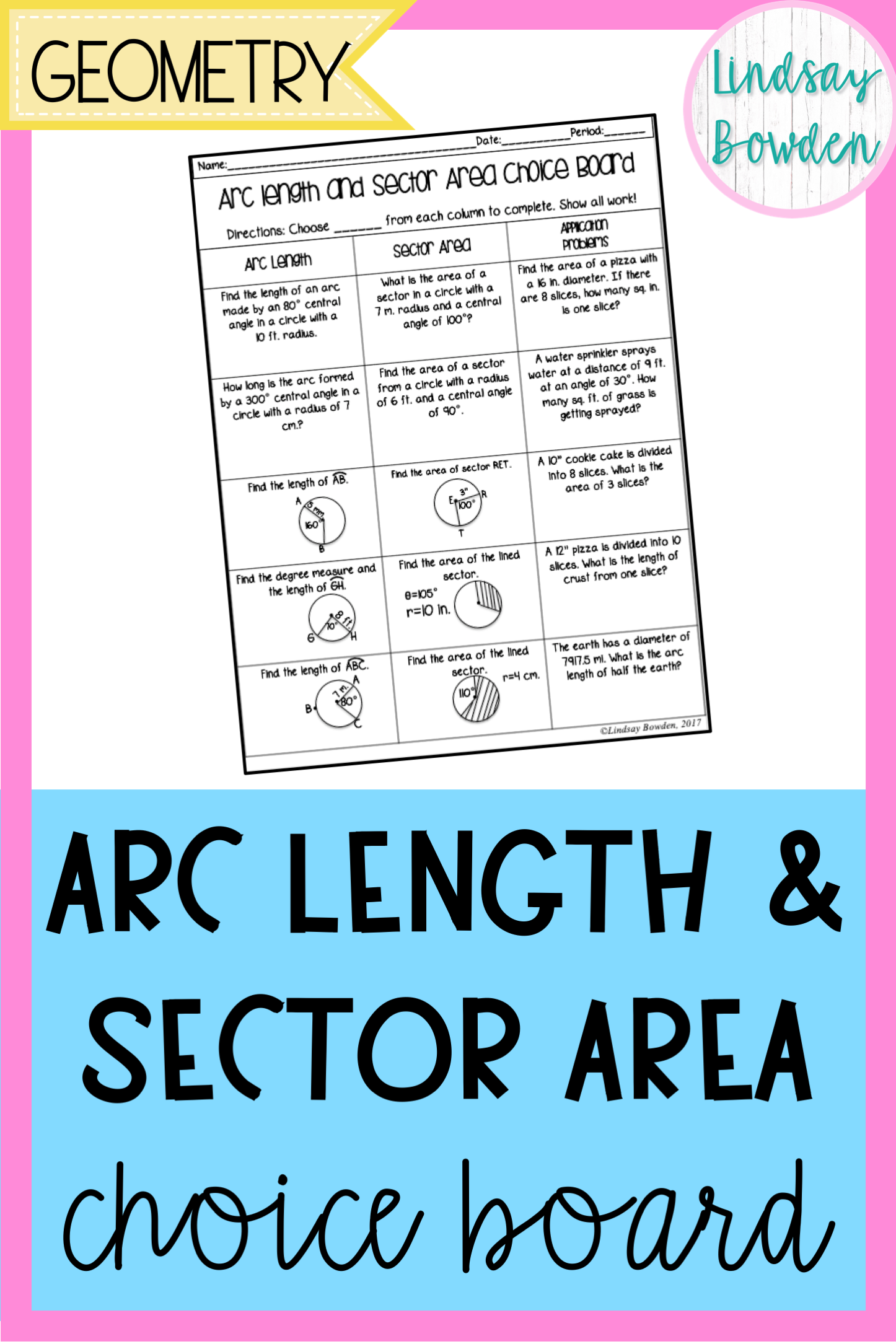 Arc Length And Sector Area Choice Board