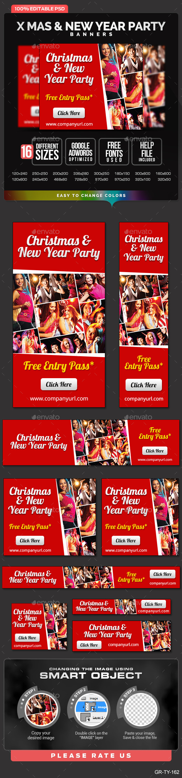 Christmas  & New Year Party Banners