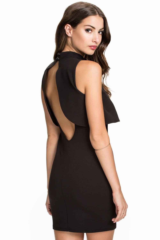 b9bbd4f4b5b34 Top Overlay High Neck Little Black Dress LAVELIQ
