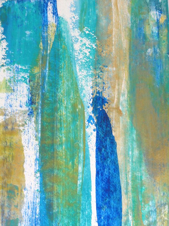 Modern Abstract Art Acrylic Painting Blue Green By Lamartstudio