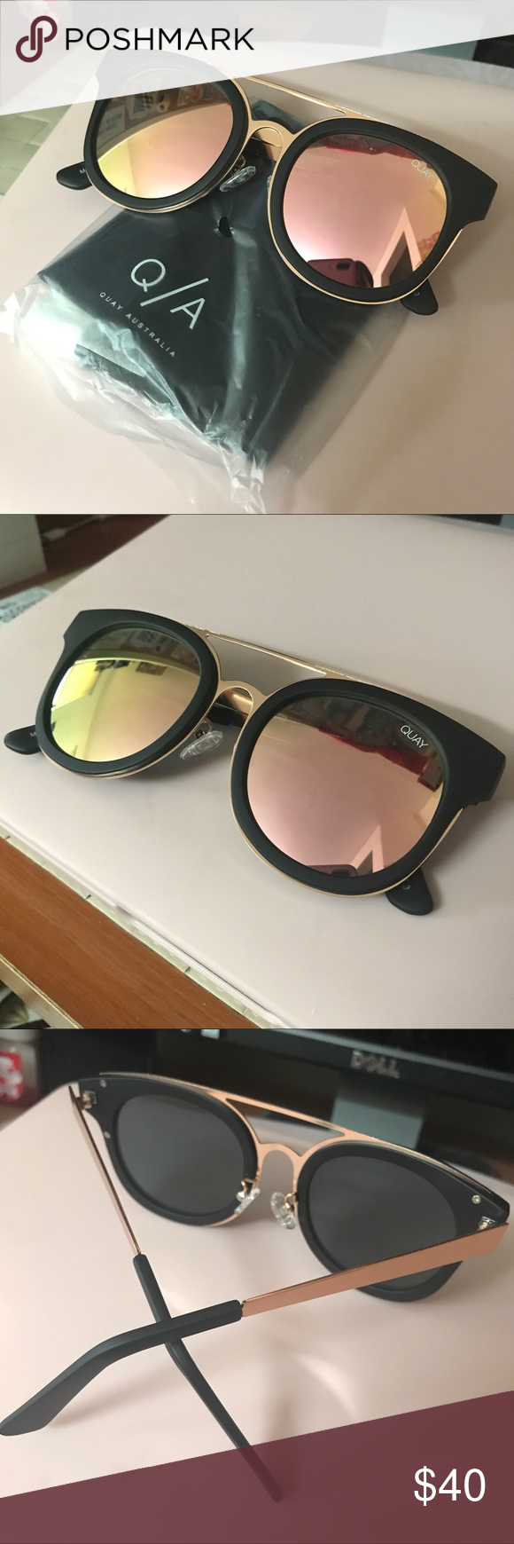 aaa5b060830 Comes with all original packaging. Have never been worn. Mirrored shades.  Color black pink gold. Quay Australia Accessories Sunglasses