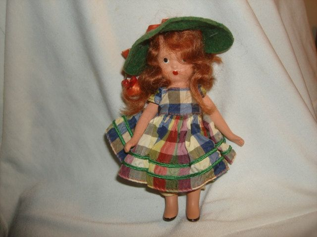 "NANCY ANN STORYBOOK Doll #111 Little Joan ~ 5-1/2"" Bisque Doll ~ Plaid Taffeta Dress by PastPossessionsOnly on Etsy"