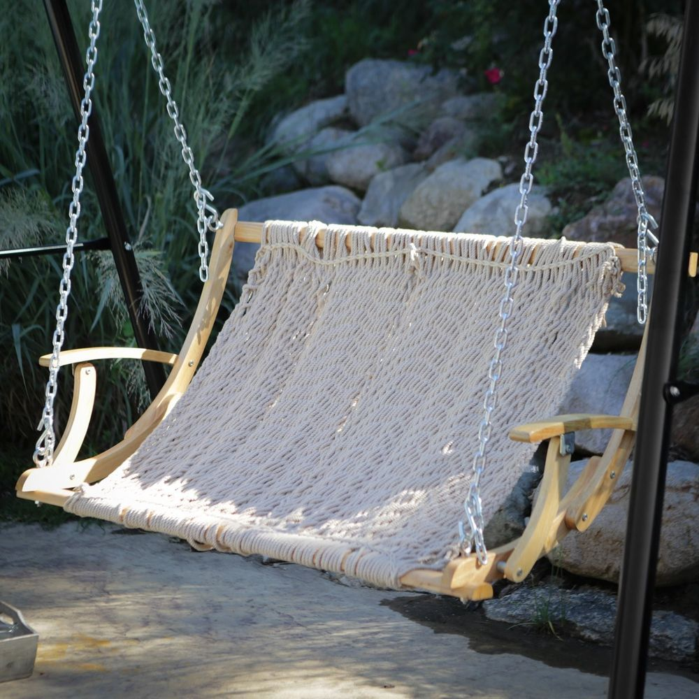 Medium image of double rope 2 person outdoor patio garden hammock swing hanging chair swing