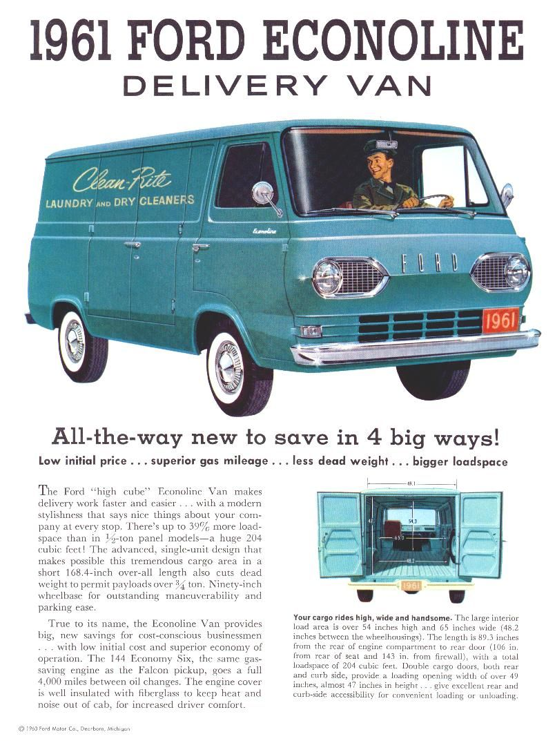 1961 Ford Econoline Van Brochure 01 Ford Trucks Vintage Cars