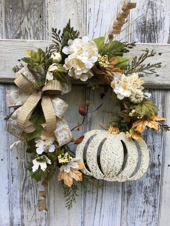 Photo of Autumn crafts Wreath – Fall pumpkin wreath, Fall wreath, Autumn wreath, white pumpkin wreath, front door decor, wreath for front door