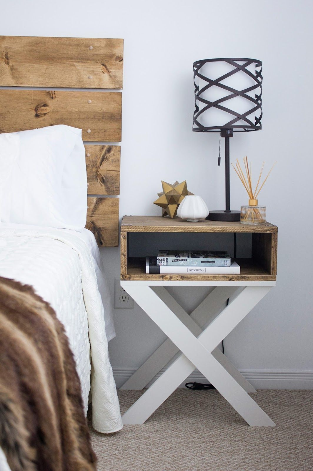 Ideas For Nightstands diy nighstand dark wood with x-legs | kels place | pinterest