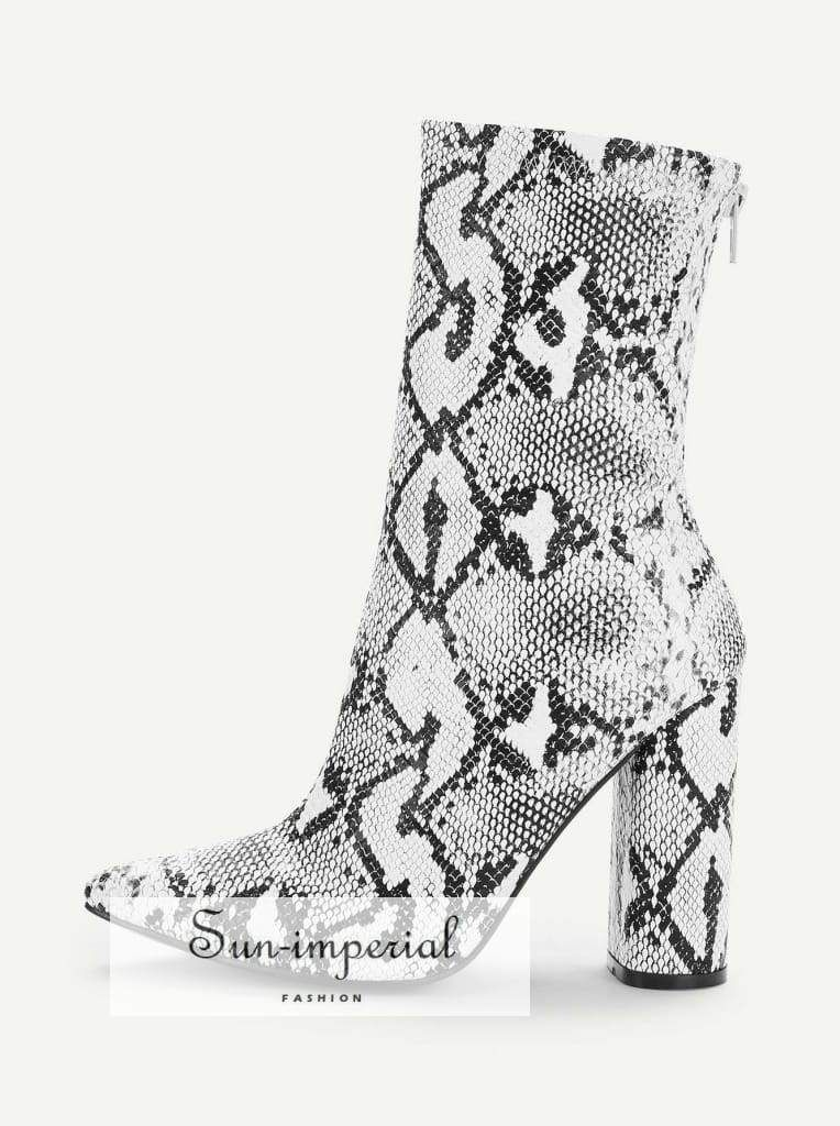 95c28770ac3e6 Snake Print Point Toe Block Heeled Boots in 2019 | Snake print ...