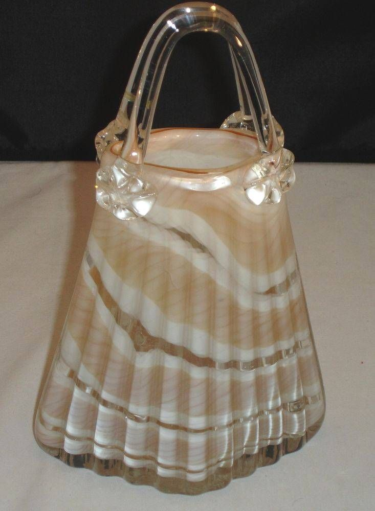 Murano Art Brown White Glass Purse With Rosetted Handle