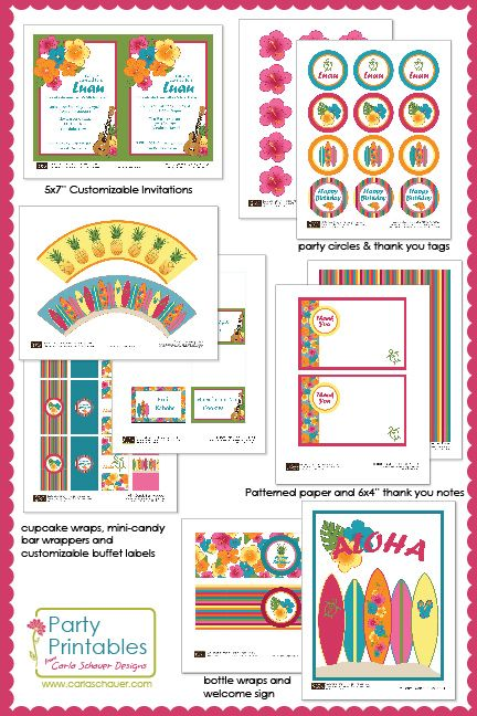 Hawaiian Theme Party Printable | Printable luau party supplies are perfect for kids' Hawaiian ...
