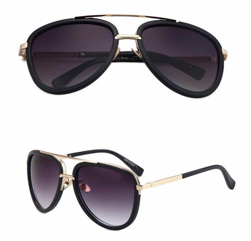 680bc7ad39 cool HOT Unisex Sunglasses Blue lenses Men s Sunglasses Retro Trend Metal  6141