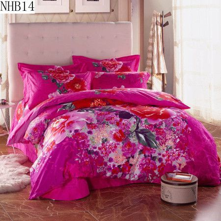 High quality 100% cotton reactive printing bedding set pillowcase duvet cover bed sheet the queen king size