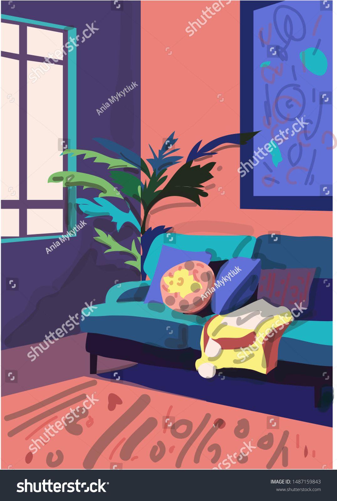 Vector Interior Design Illustration Furniture Collection Elements
