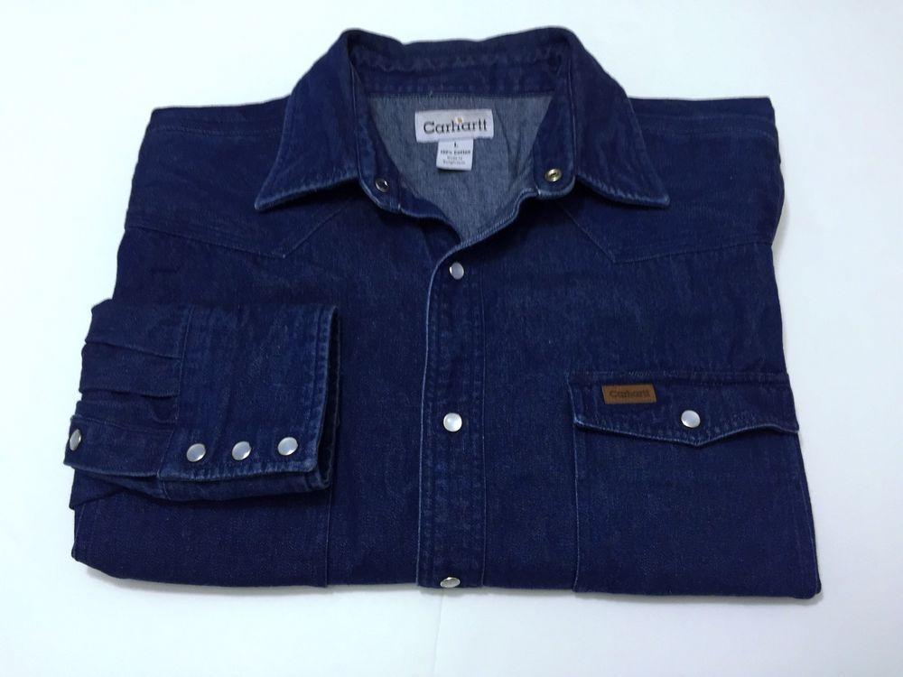514e79eba7ffec Carhartt Denim Blue Jean Pearl Snap Shirt L Men Western Work Cowboy Cotton   Carhartt  ButtonFront