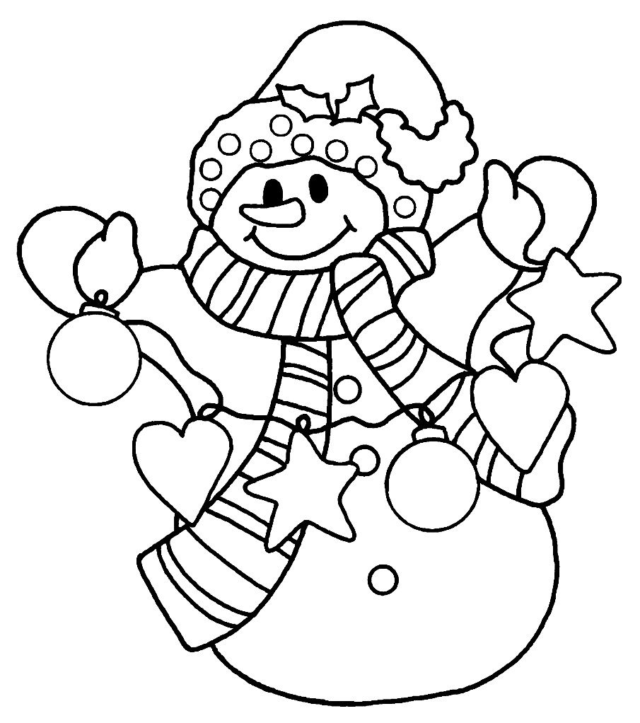 snowman clown shape with bright light ornament christmas coloring - Snowman Coloring Page