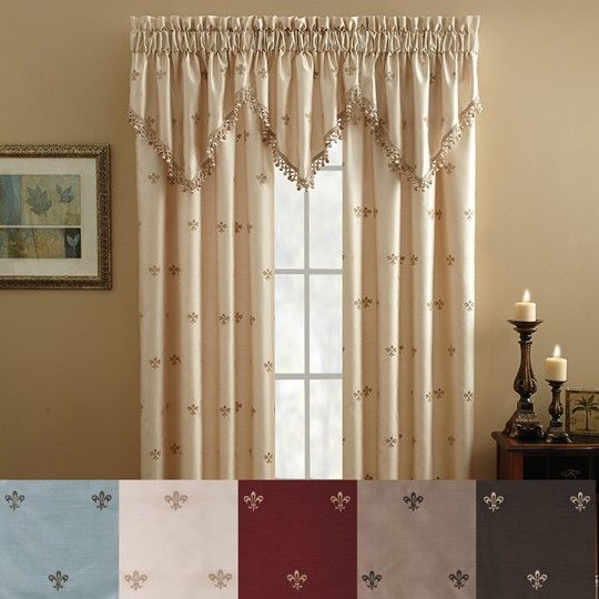 Lisa Fleur De Lis Embroidered Window Curtain 1999 Panel ValanceThe Panels Are Lined And Have A 2 Inch Header 3 Rod Pocket To Fit