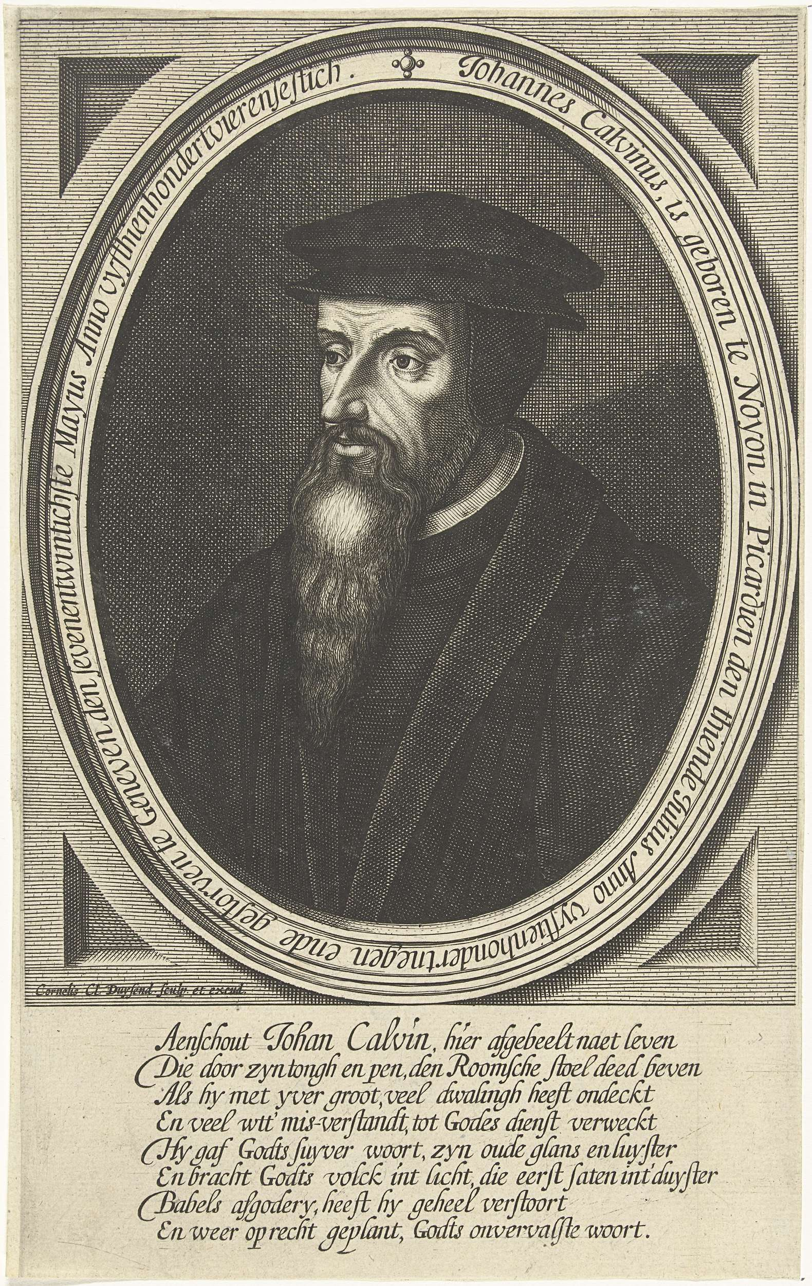 Portret van de reformator Johannes Calvijn, Cornelis Claesz. Duysend, 1630 - 1641