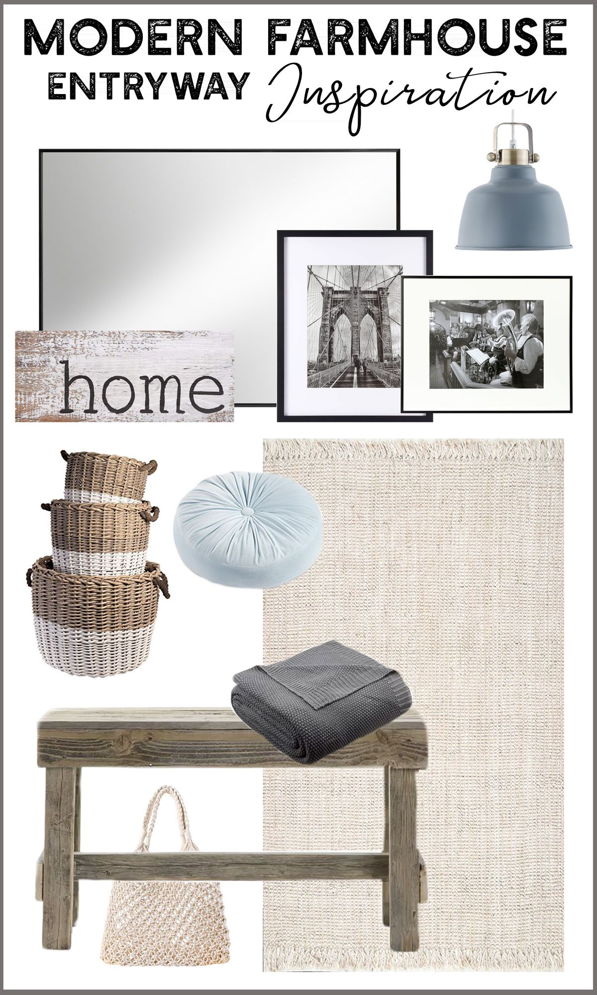 See the space we've created this design mood board for - a Traditional Modern Farmhouse entryway / foyer. #modernfarmhouse #traditionalfarmhouse #frenchfarmhouse #frenchstyle #entryway #foyer #moodboard #designelements #camitidbits #interiordesigner