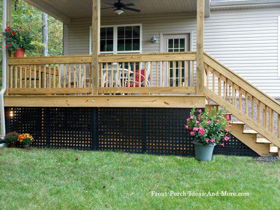 Porch Skirting Vinyl Lattice Panels Porch Landscaping Mobile Home Porch Porch Landscaping Backyard Porch