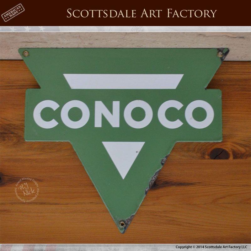 Conoco signs vintage 1950s gas pump signs for Cononco - green ...