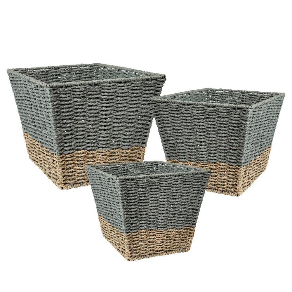 Honey Can Do 16 5 Gal Seagrass Storage Baskets In Blue And Grey