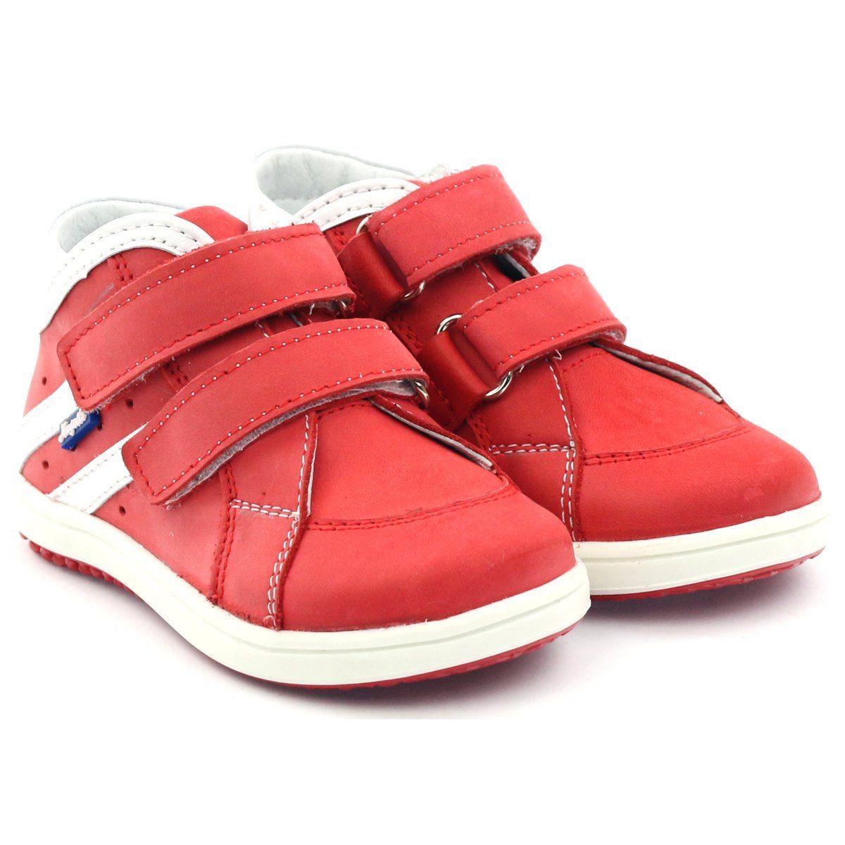 Trzewiki Skorzane Rzepy Hugotti Czerwone Biale Leather Boots Childrens Shoes Kid Shoes