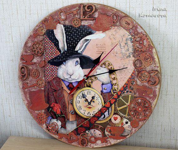 Alice in Wonderland White Rabbit Wall Clock