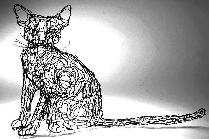 feline wire sculpture wire art cats by Elizabeth Berrien | Cat Art 2 ...