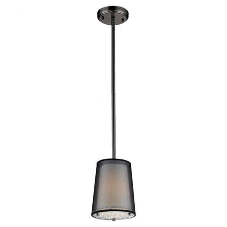 """Mini pendant with a black finish and sheer drum shade. 8""""x 7"""" diameter $159 Joss and Main    Product: Mini pendant   Construction Material: Metal..."""