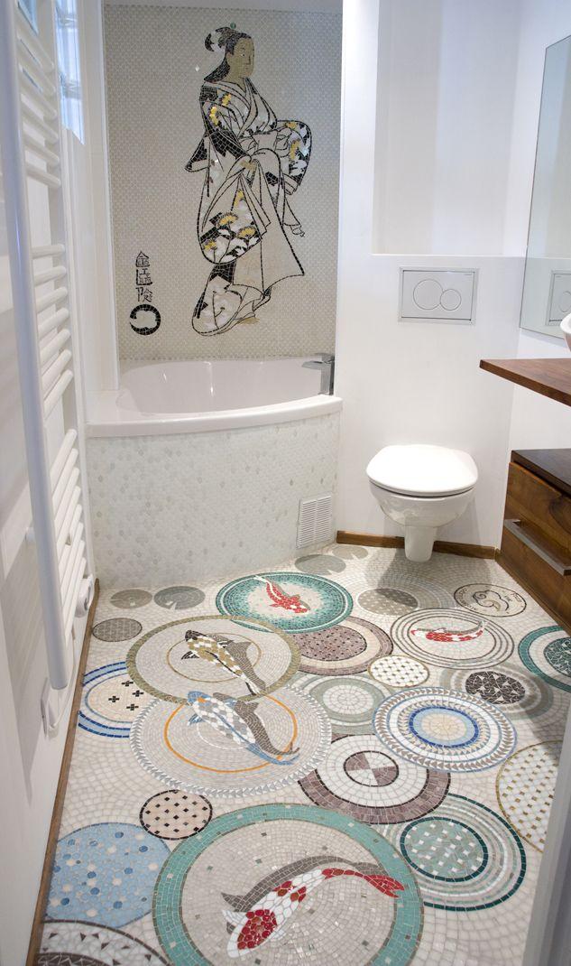 Atelier Lilikpo Mosaiques Sur Mesure Interieur Salle De Bain Decoration Unique Mosaique Salle De Bain