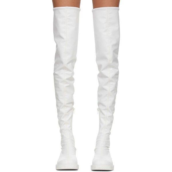 Junya Watanabe White Tall Boots ❤ liked