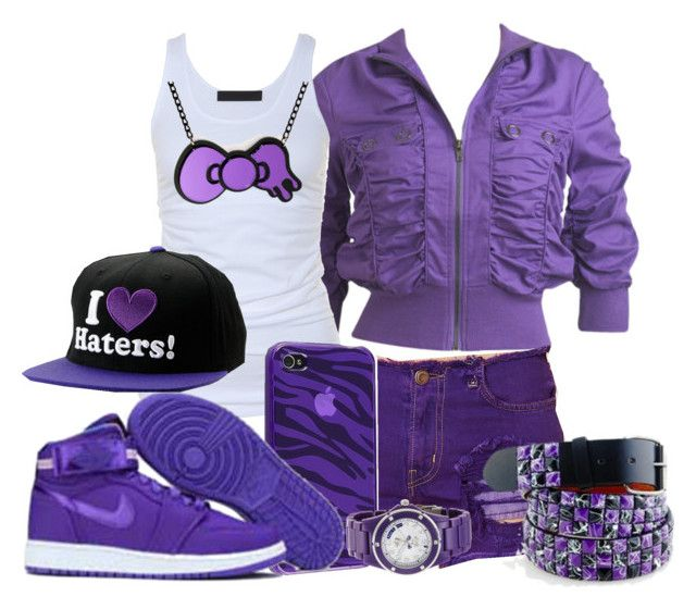 """""""Pretty In Purple"""" by jackie143 ❤ liked on Polyvore featuring Wet Seal, Free People, Tusnelda Bloch, Hello Kitty, NIKE, Juicy Couture and DGK"""