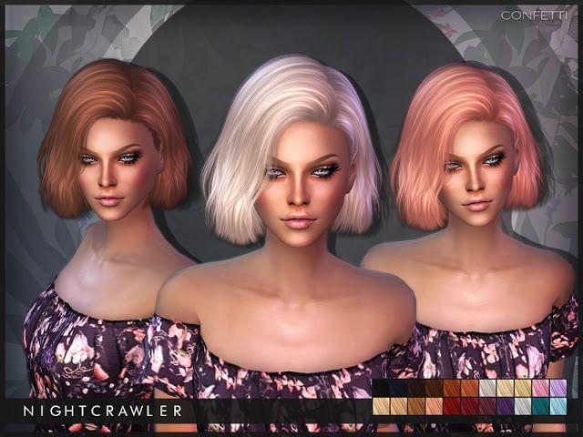 Sims 4 CC's - The Best: Nightcrawler-Confetti Hair