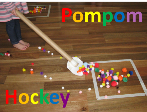 Keep the kids entertained with Pompom Hockey.  It is a super simple activity you can set up at home for the kids, that is fun, challenging and exciting.  It also gets little bodies moving!