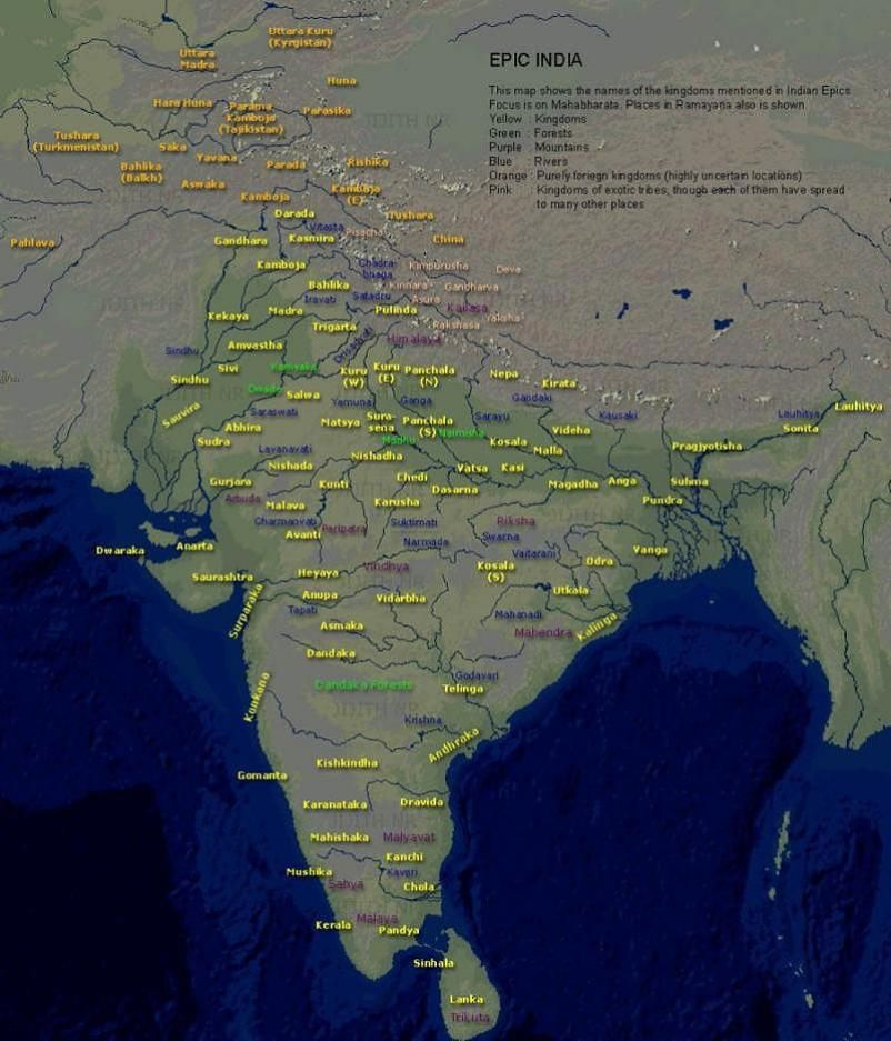 14 Countries during Mahabharata time Modern Countries
