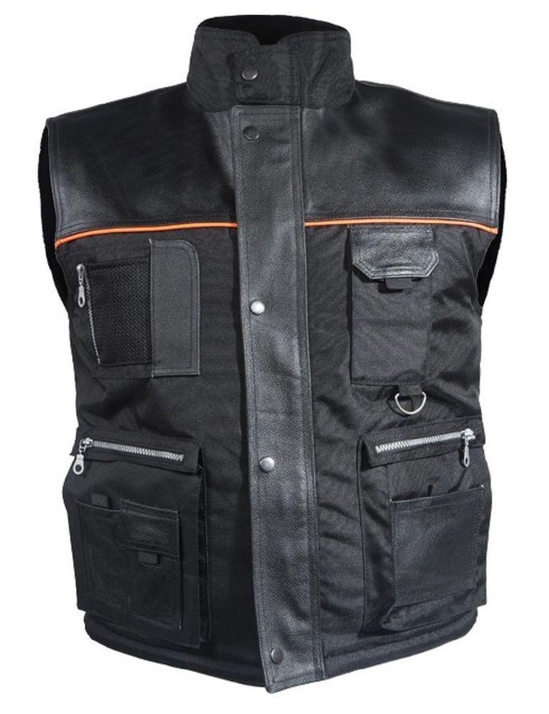 Mens Lightweight Textile Cargo Vest Reflective Stripes
