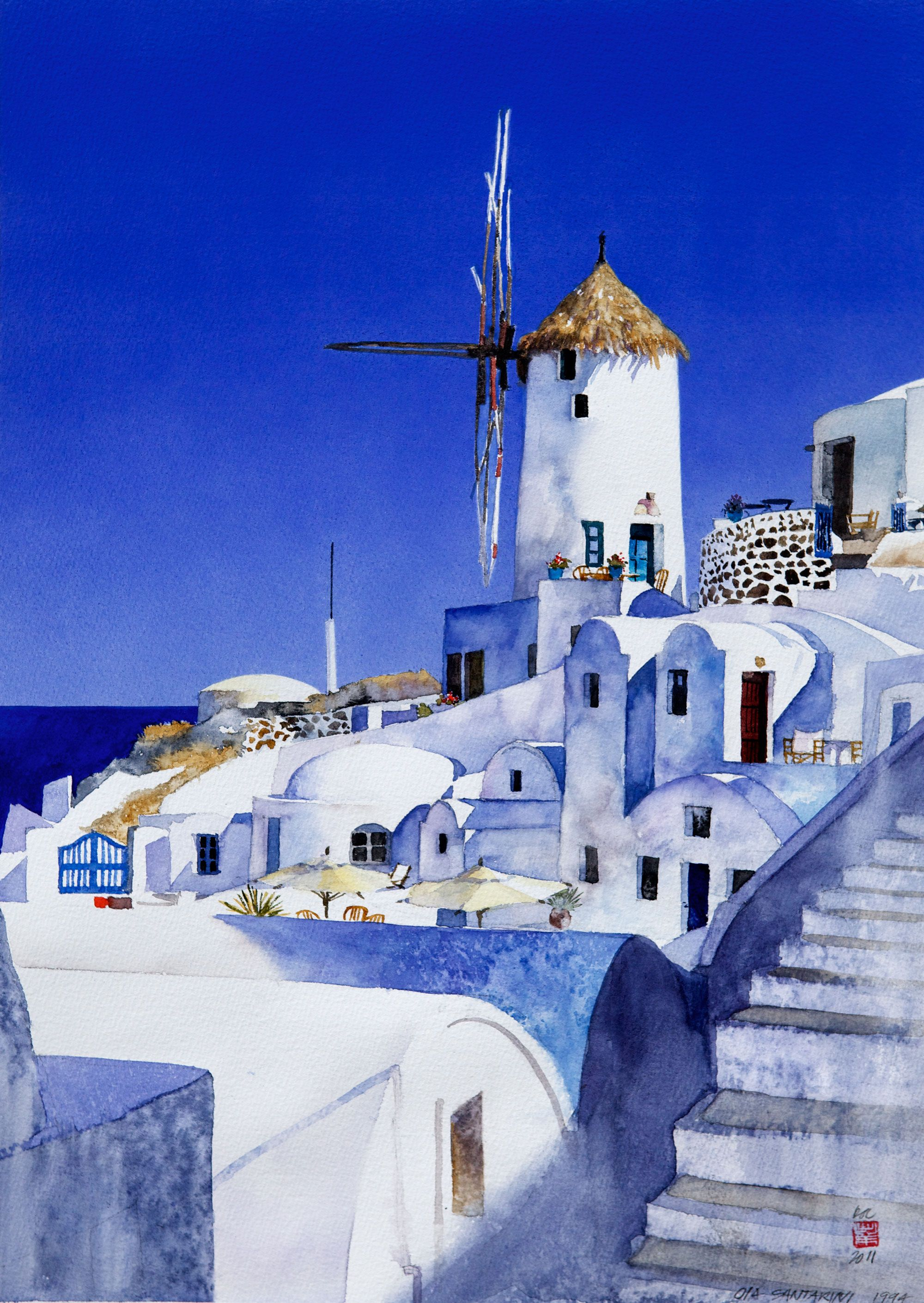 Greece Old Santorini By Stanley Doctor Peinture Paysage