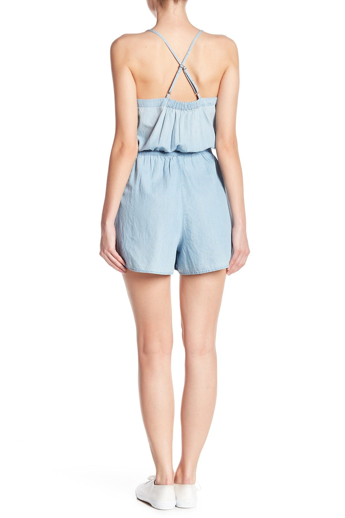 354c7f6ad35020 Chambray Embroidered Romper (Regular   Petite) in 2019