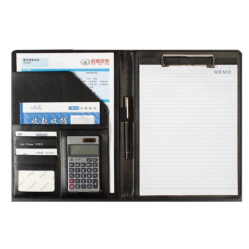 A4 Leather Zipped Conference Folder Ring Binder Portfoli