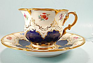 Large Meissen Cobalt and Gilt Cup and Saucer HP Flowers