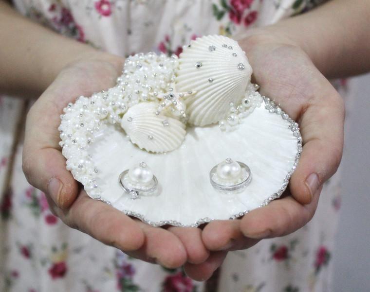 Delicate Handmade S M L Seastar Pearl Rhinestone Natural Seashell