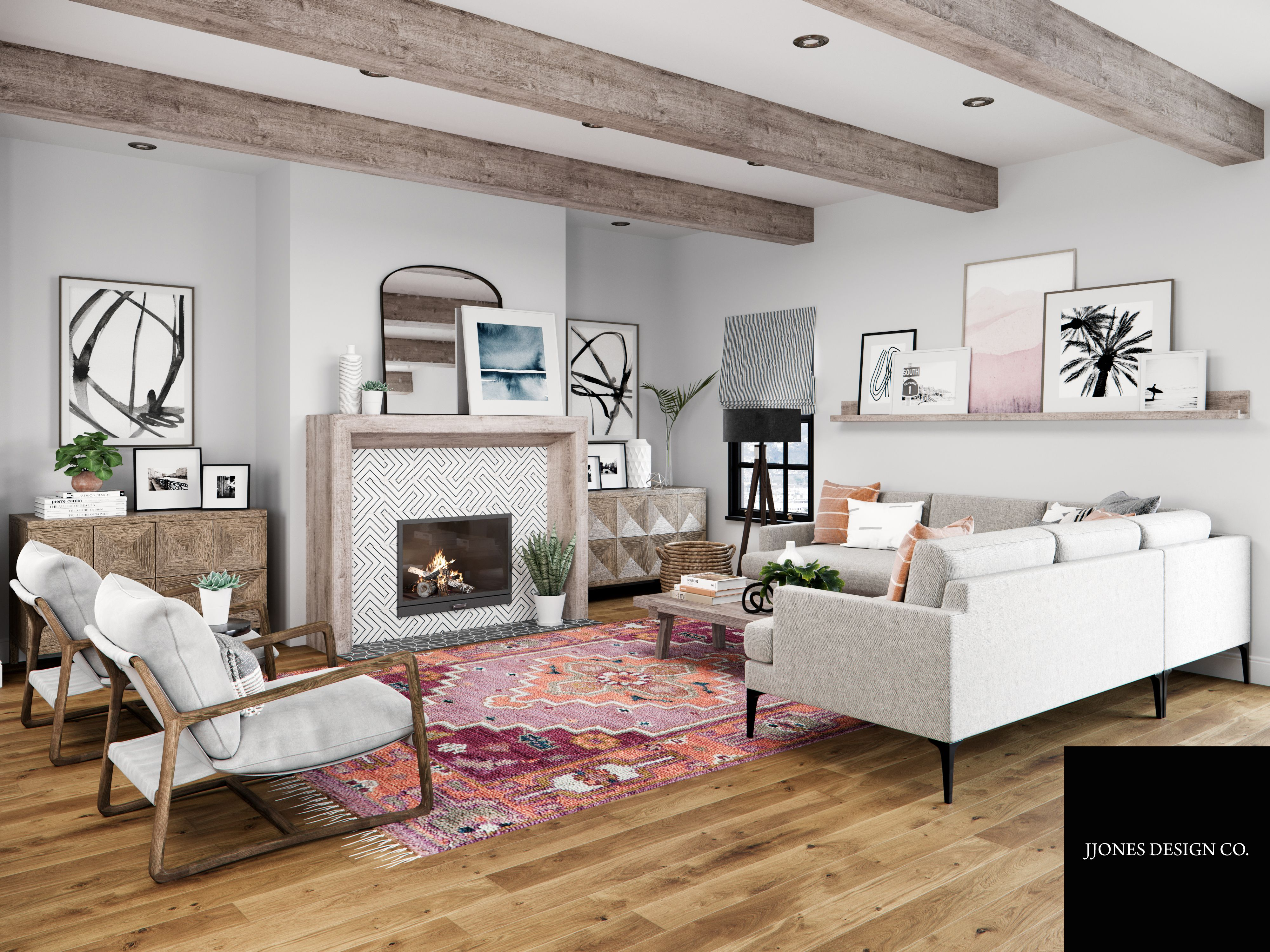 One of our latest e-design projects - California Casual ... on Fireplace Casual Living id=25636